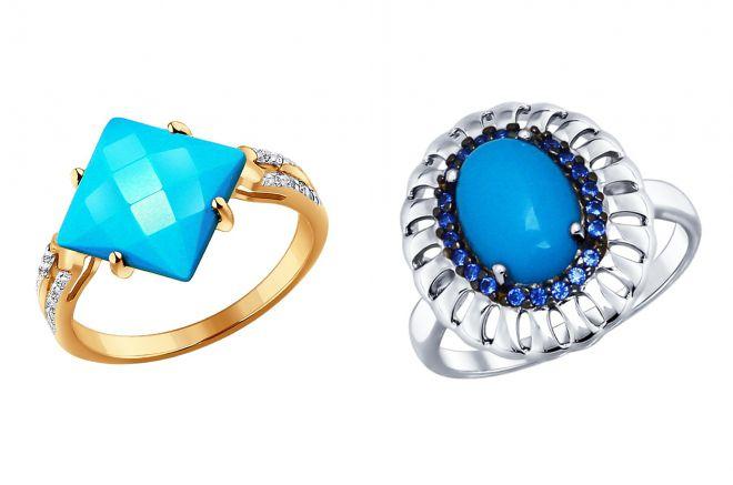 женские кольца с бирюзой