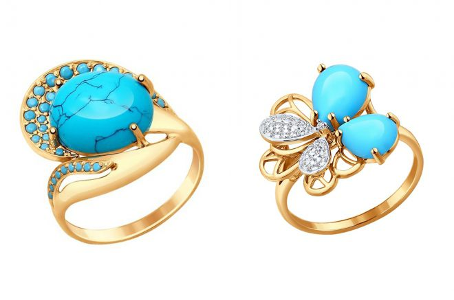 кольцо с бирюзой из золота