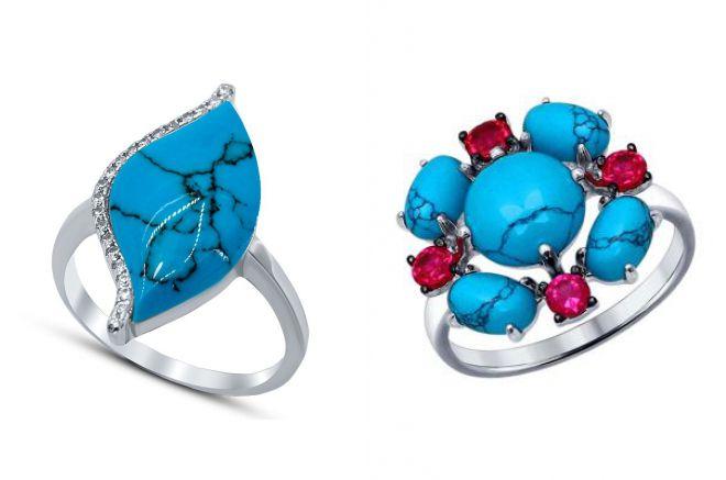 кольцо с бирюзой серебро