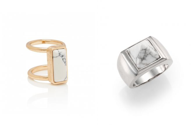 кольца с белой бирюзой