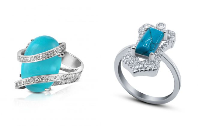 кольцо с бирюзой и бриллиантом
