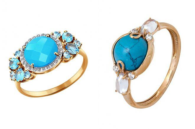 золотое кольцо с натуральной бирюзой