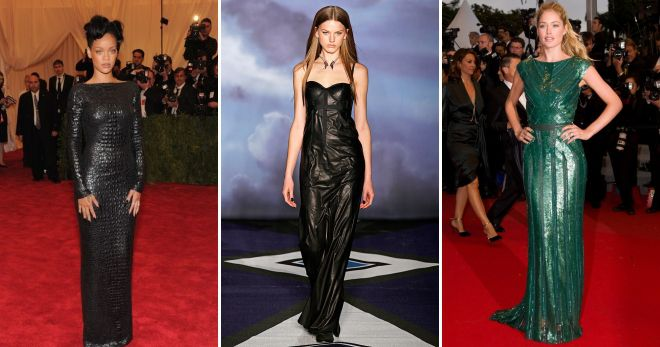 длинные кожаные платья в пол