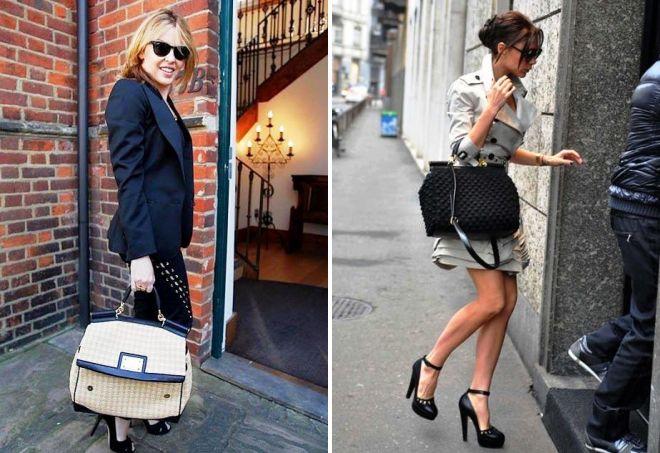 знаменитости с трикотажными сумками