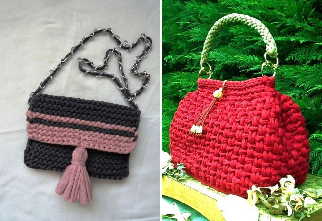 модная трикотажная сумка