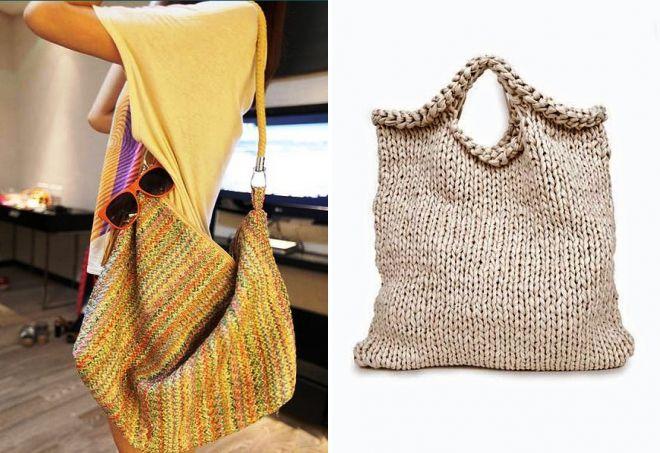 сумка мешок из трикотажной пряжи