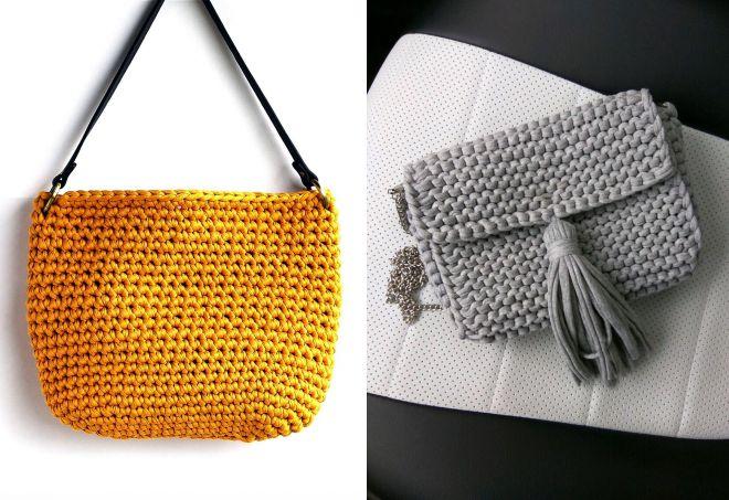 сумка через плечо из трикотажной пряжи