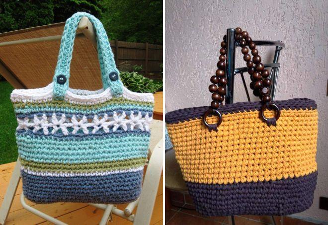 пляжная сумка из трикотажной пряжи