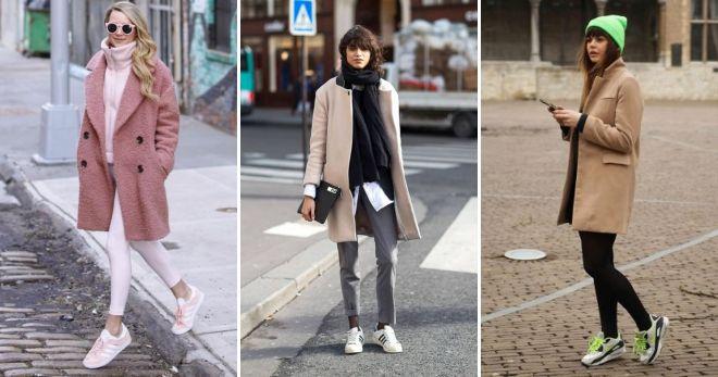 Короткое пальто с кедами