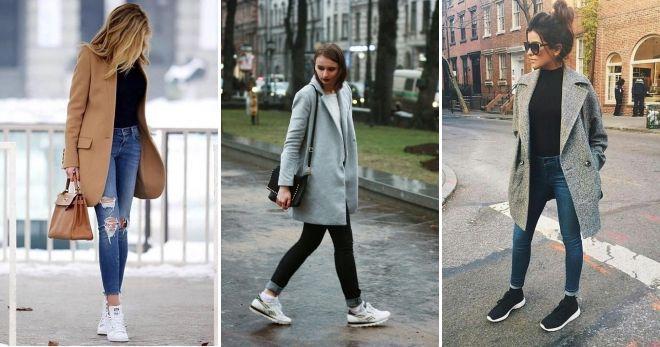 Короткое пальто с кедами варианты