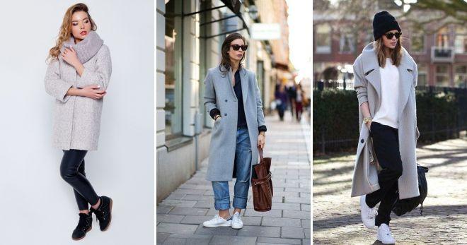 Пальто с кедами - сочетание