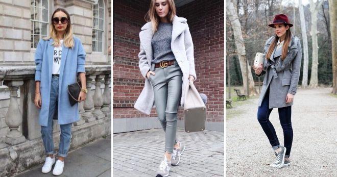 Пальто с кедами и джинсами
