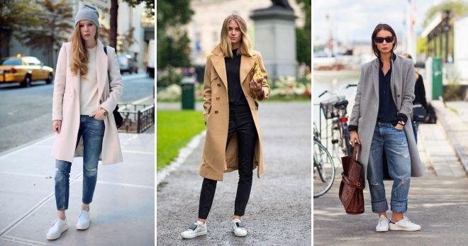 Пальто с кедами и джинсами идеи