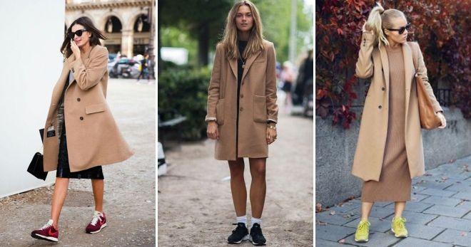 Пальто с кедами и платьем