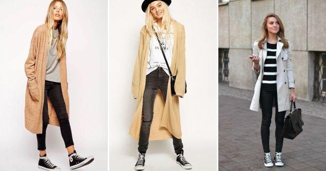 Пальто с высокими кедами