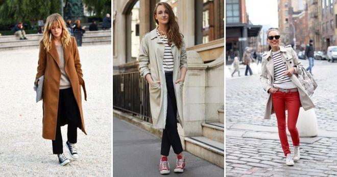 Пальто с высокими кедами мода