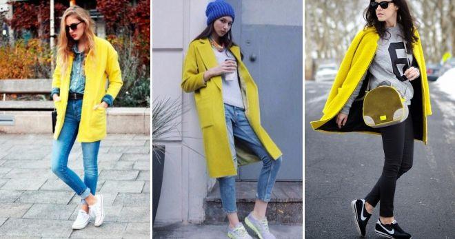 Пальто с кедами 2019 желтое