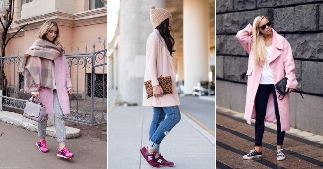 Пальто с кедами 2019 розовое