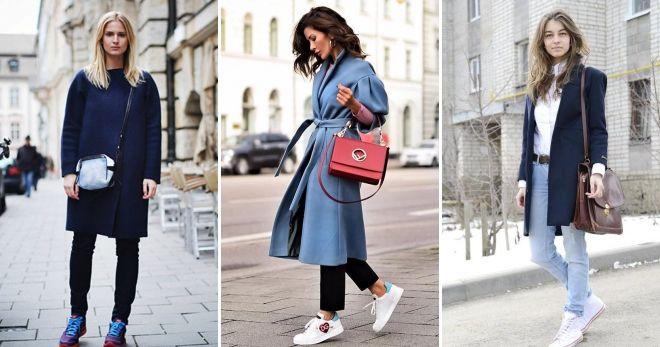 Как носить пальто с кедами