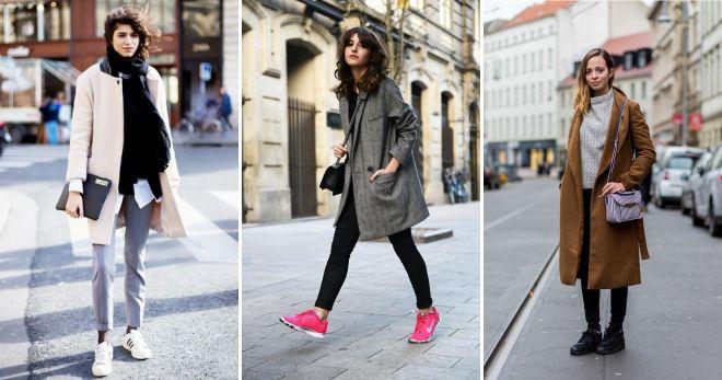 Как носить пальто с кедами идеи