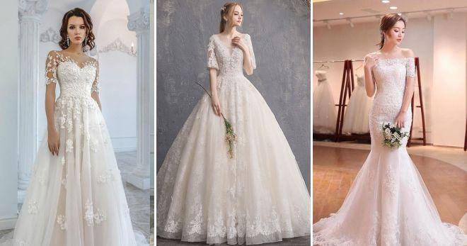 649b576d5fc ... Модные цвета свадебных платьев 2019 короткий рукав