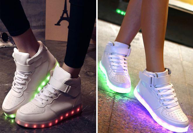 Модные светящиеся высокие кеды