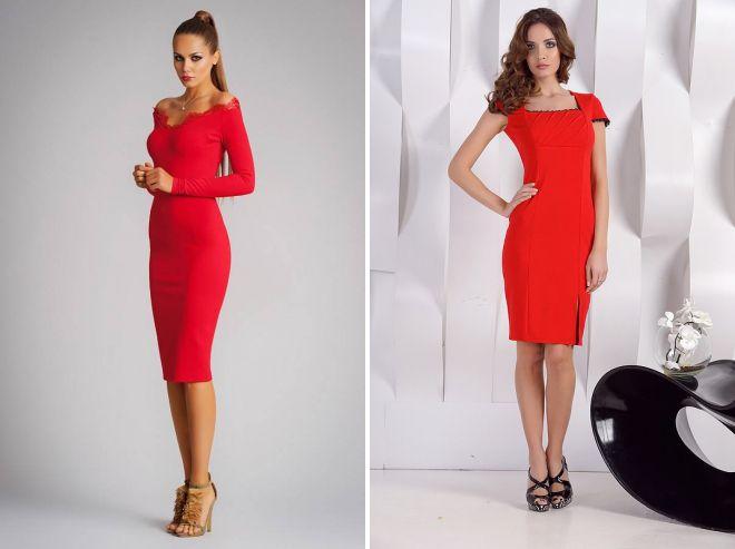 красное платье футляр