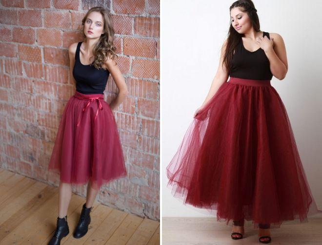 бордовая юбка пачка