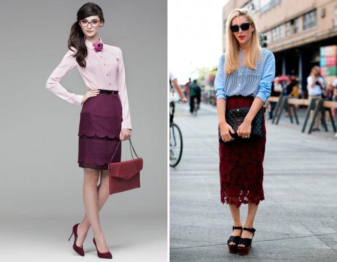 бордовая юбка с кружевом