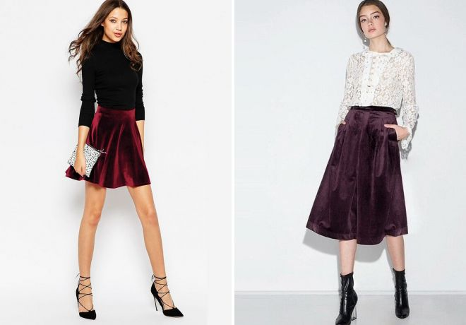 юбка бордового цвета бархатная