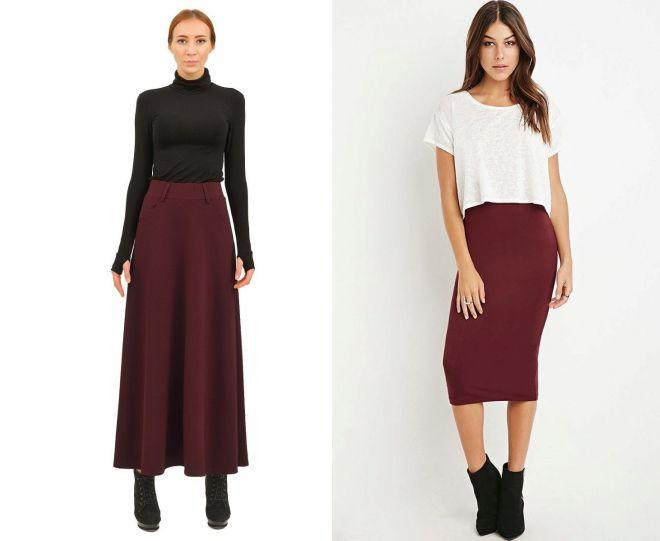 трикотажная бордовая юбка