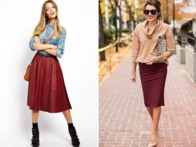 с чем носить бордовую юбку