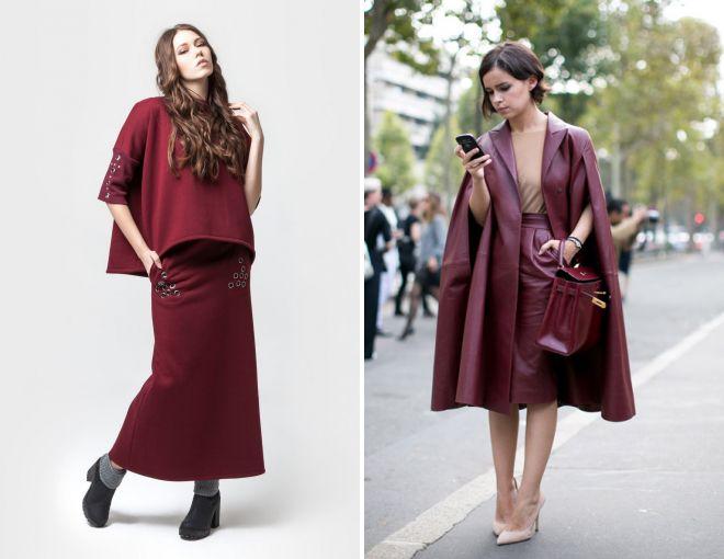 с чем носить бордовую юбку 2017