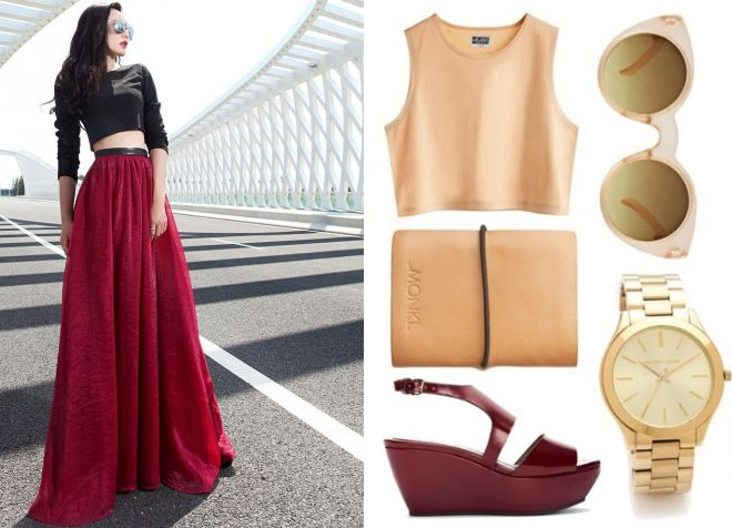 бордовая юбка в пол 2017