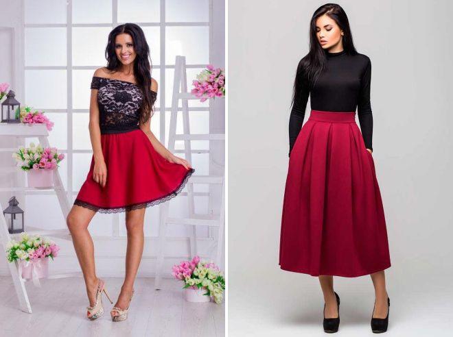 модные бордовые юбки