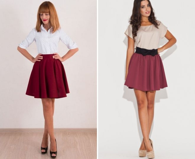 белая блузка и бордовая юбка
