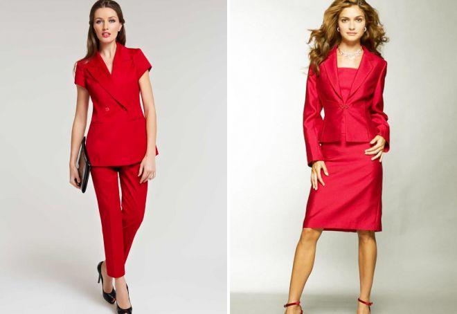 красный женский деловой костюм