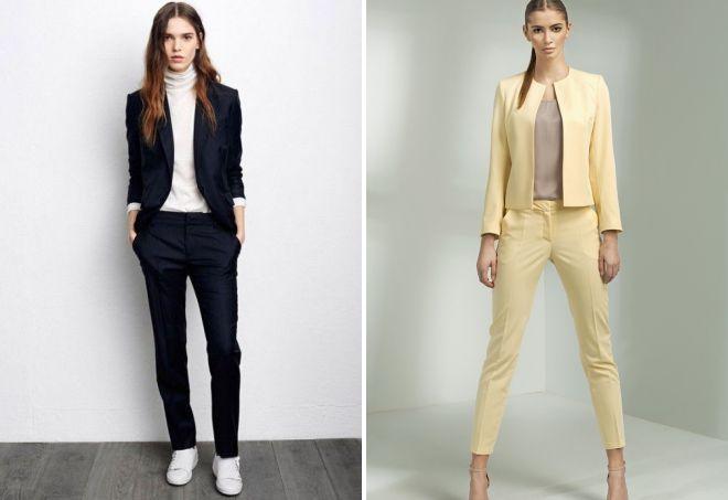 женский деловой костюм с брюками