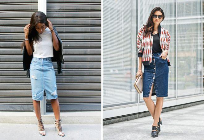 образы с джинсовой юбкой