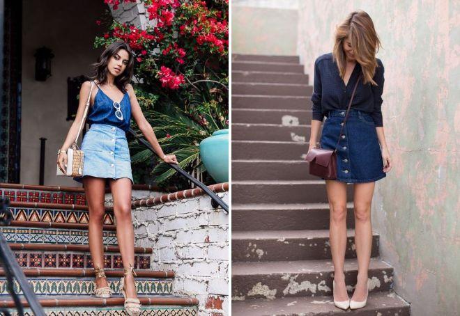 джинсовая юбка с пуговицами спереди
