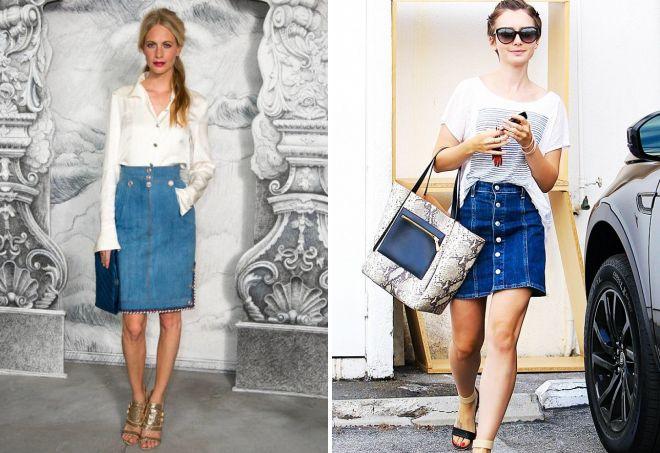 Поппи Делевинь и Лили Коллинз в джинсовой юбке
