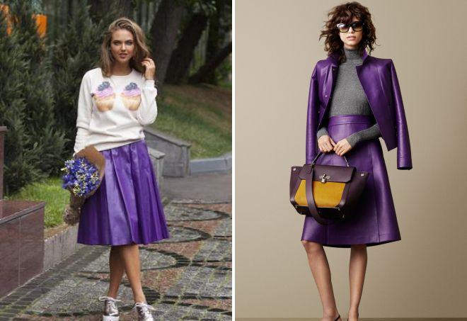 фиолетовая кожаная юбка