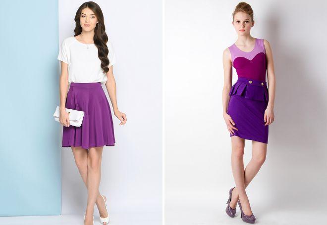 фиолетовая короткая юбка
