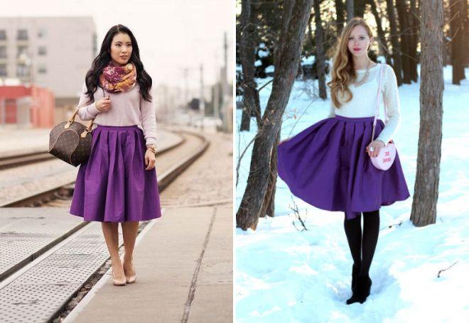 фиолетовая атласная юбка