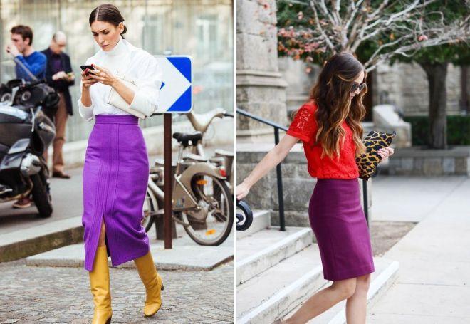 фиолетовая юбка карандаш