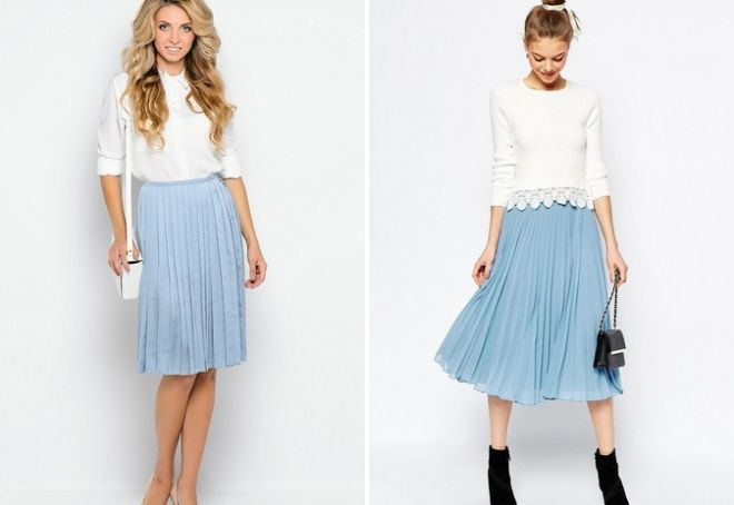 голубая юбка в складку