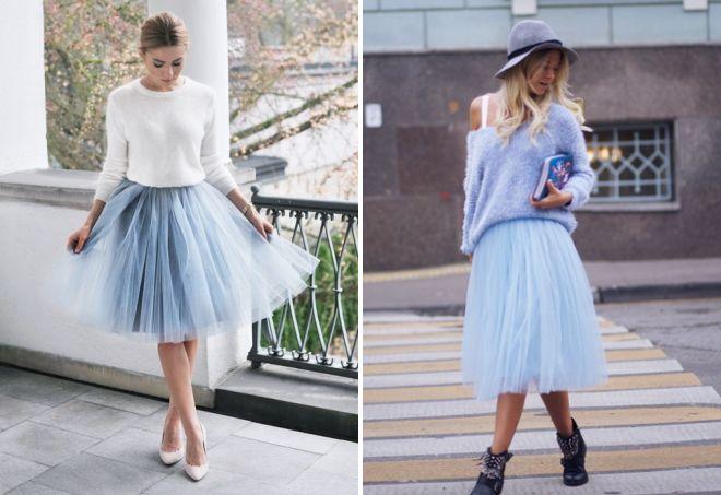 голубая юбка из фатина