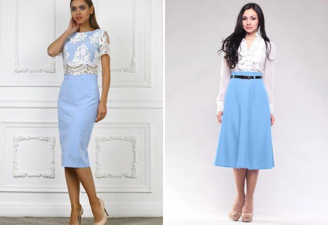 модные голубые юбки