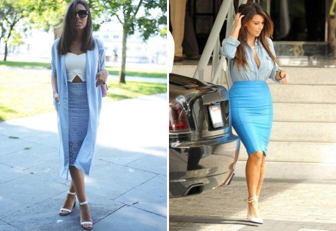 сочетание голубой юбки