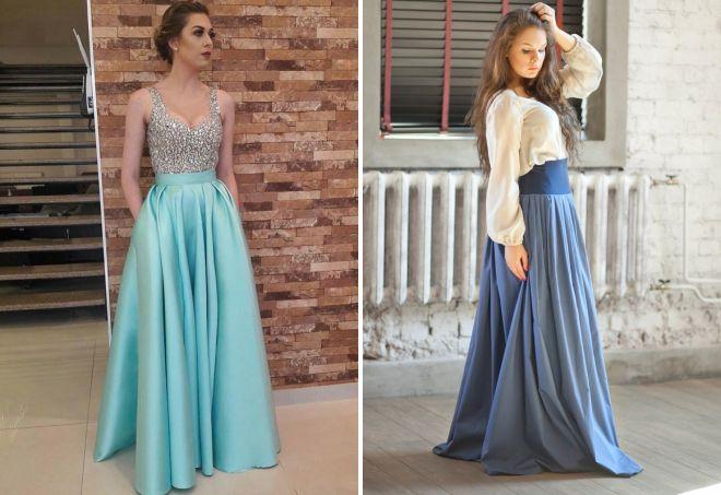 голубая юбка в пол